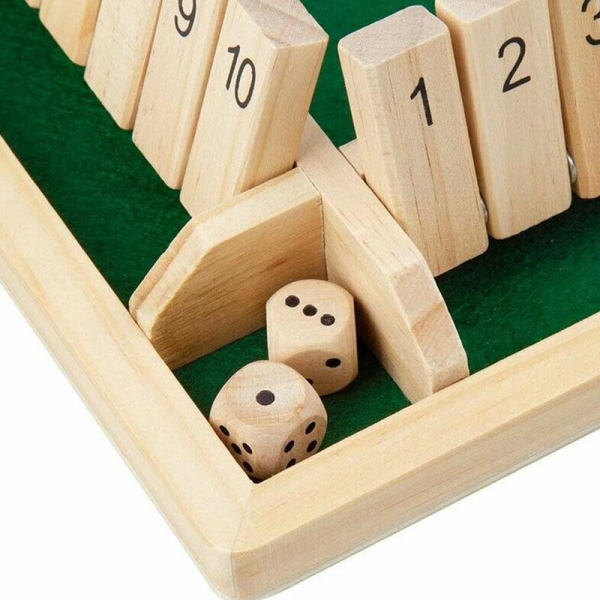 Tabla de joc numere  - Joc de masa din lemn cu zaruri Shut the Box 5
