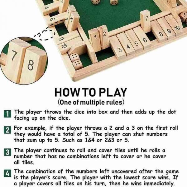 Tabla de joc numere  - Joc de masa din lemn cu zaruri Shut the Box [8]