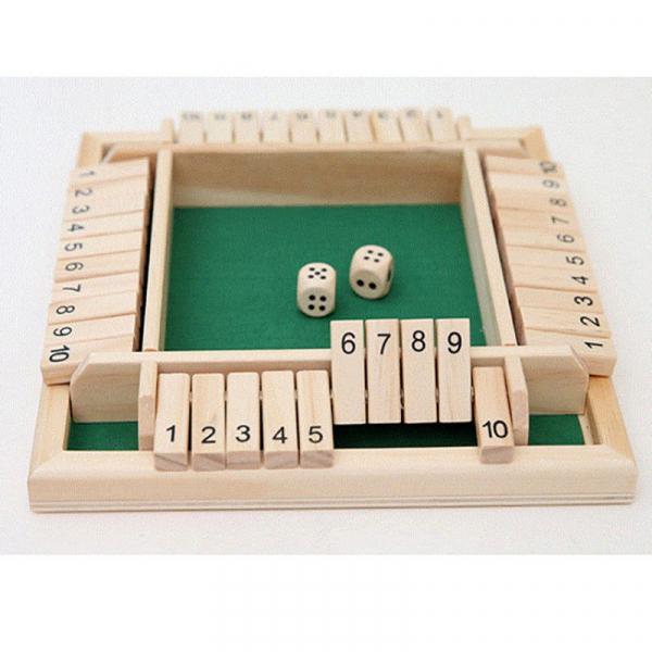 Tabla de joc numere  - Joc de masa din lemn cu zaruri Shut the Box 8