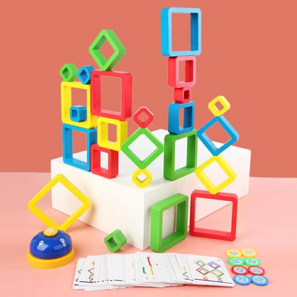 Joc Lemn de Societate Stivuire Stacking Game - Joc din Lemn Senzorial Forme Geometrice 0