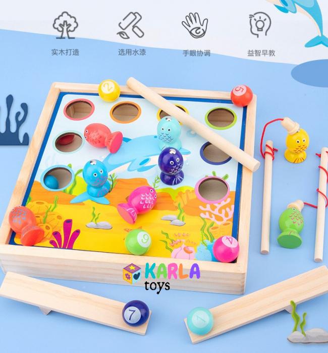Joc din lemn copii biliard si joc de pescuit 6