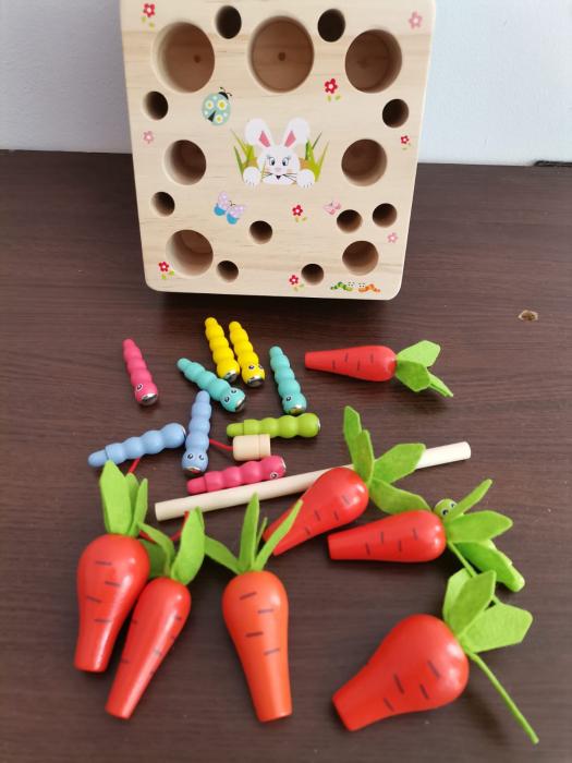 Joc din lemn Metoda Montessori Motricitate Morcovi [3]