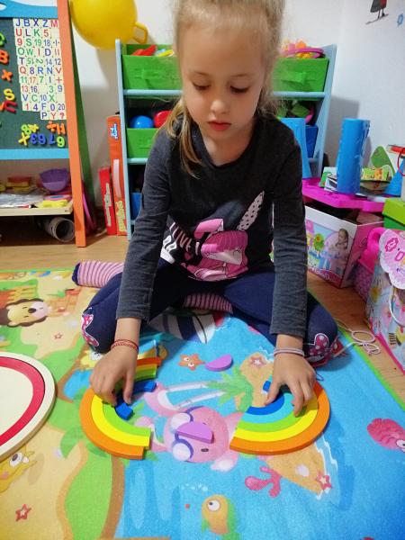Joc din Lemn Montessori Curcubeu Dublu -Puzzle Lemn Curcubeu 14 Piese 7