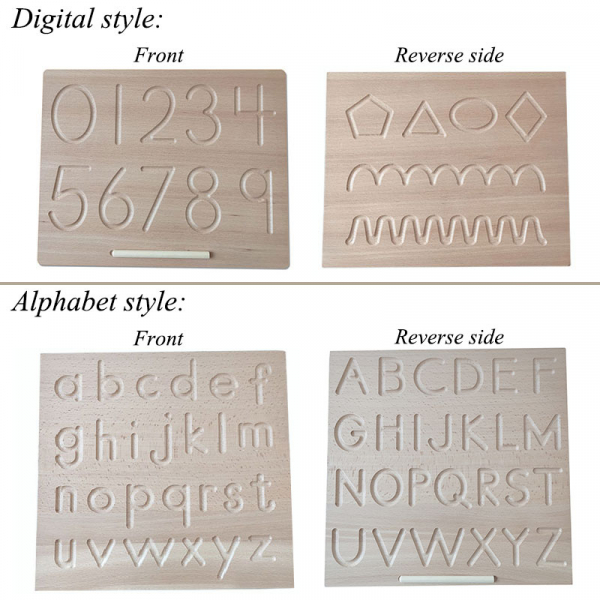Joc  lemn montessori litere si cifre Tabla de urmariere al literelor 6