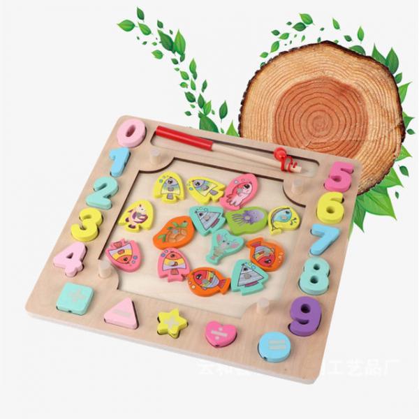 Joc din Lemn Montessori Sortator Culori 4 in 1 - Joc de Pescuit,Cifre, Forme geometrice 15