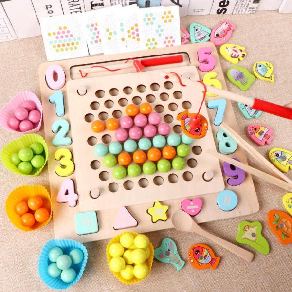 Joc din Lemn Montessori Sortator Culori 4 in 1 - Joc de Pescuit,Cifre, Forme geometrice 0