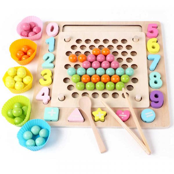 Joc din Lemn Montessori Sortator Culori 4 in 1 - Joc de Pescuit,Cifre, Forme geometrice 3