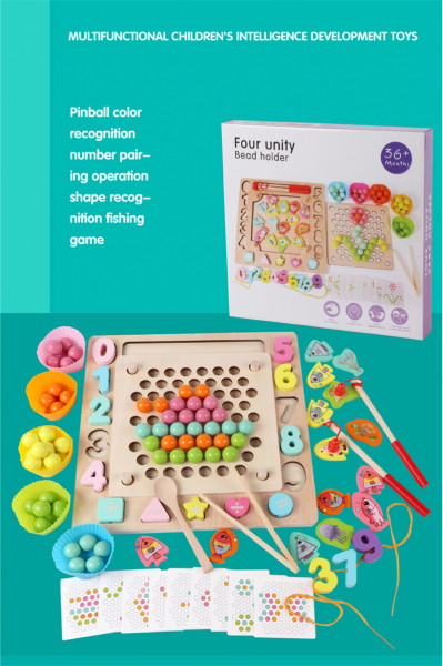 Joc din Lemn Montessori Sortator Culori 4 in 1 - Joc de Pescuit,Cifre, Forme geometrice 1