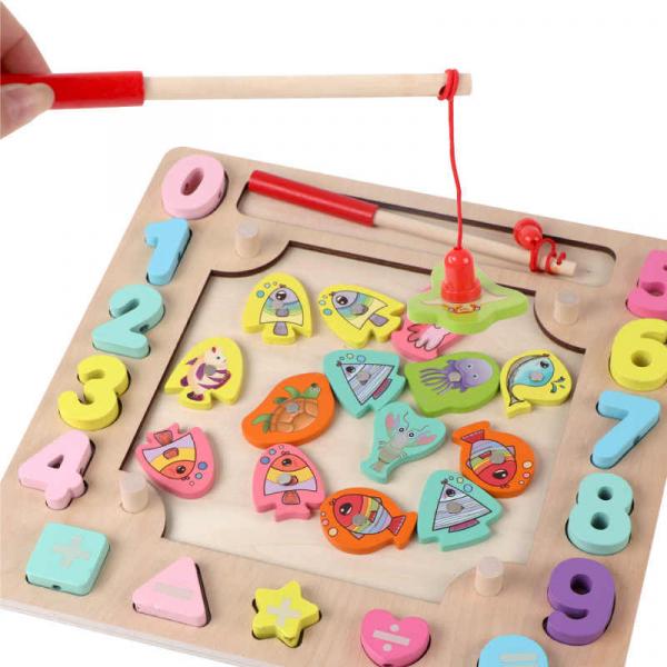 Joc din Lemn Montessori Sortator Culori 4 in 1 - Joc de Pescuit,Cifre, Forme geometrice 4