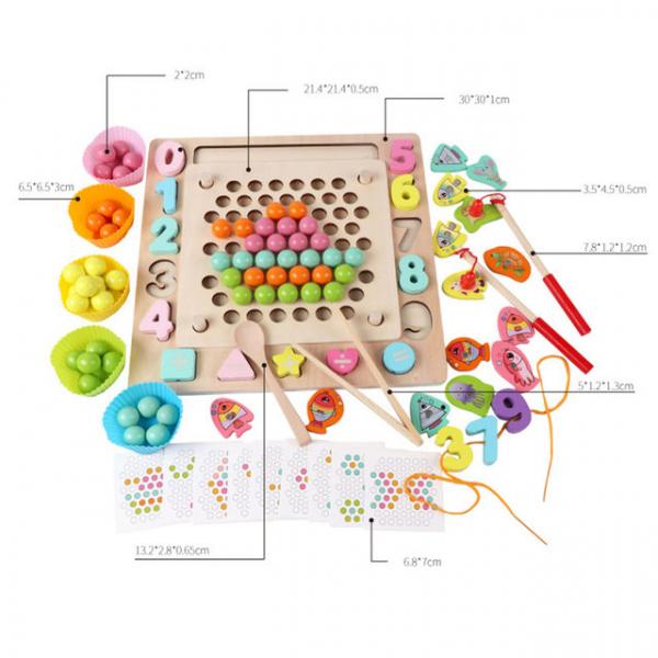 Joc din Lemn Montessori Sortator Culori 4 in 1 - Joc de Pescuit,Cifre, Forme geometrice 14