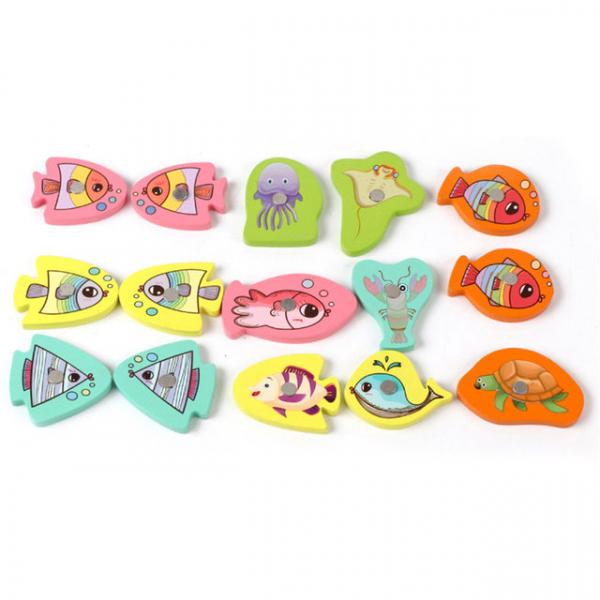 Joc din Lemn Montessori Sortator Culori 4 in 1 - Joc de Pescuit,Cifre, Forme geometrice 7