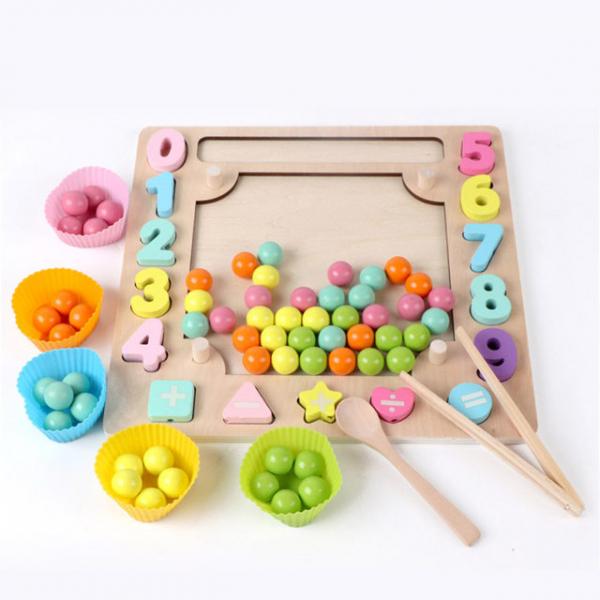 Joc din Lemn Montessori Sortator Culori 4 in 1 - Joc de Pescuit,Cifre, Forme geometrice 16