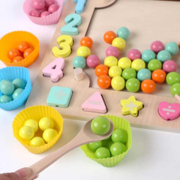 Joc din Lemn Montessori Sortator Culori 4 in 1 - Joc de Pescuit,Cifre, Forme geometrice 5