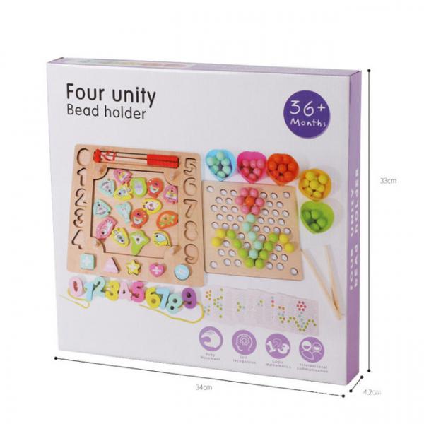 Joc din Lemn Montessori Sortator Culori 4 in 1 - Joc de Pescuit,Cifre, Forme geometrice 6