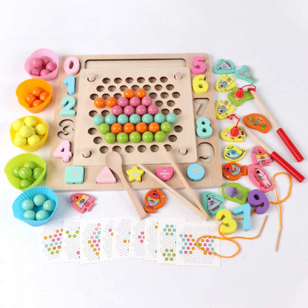 Joc din Lemn Montessori Sortator Culori 4 in 1 - Joc de Pescuit,Cifre, Forme geometrice 2