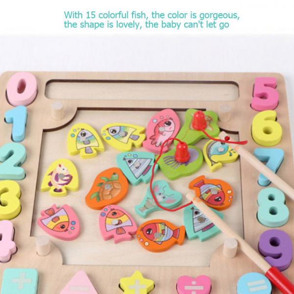 Joc din Lemn Montessori Sortator Culori 4 in 1 - Joc de Pescuit,Cifre, Forme geometrice 12