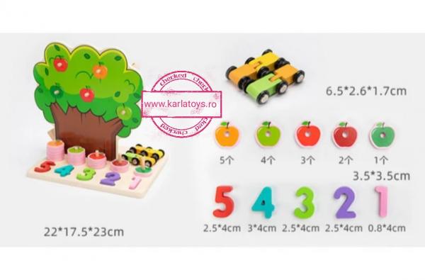 Joc din Lemn Pomul Multifunctional, Pista, Cifre si Fructe 11