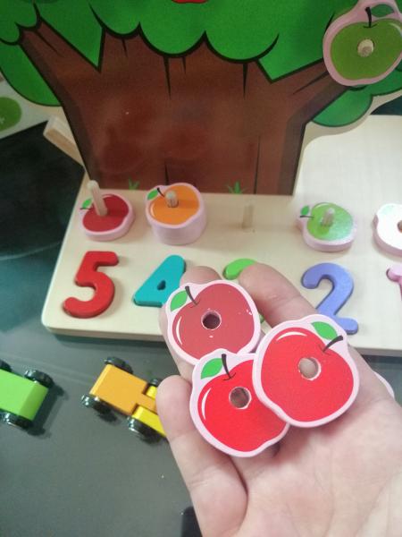Joc din Lemn Pomul Multifunctional, Pista, Cifre si Fructe 6
