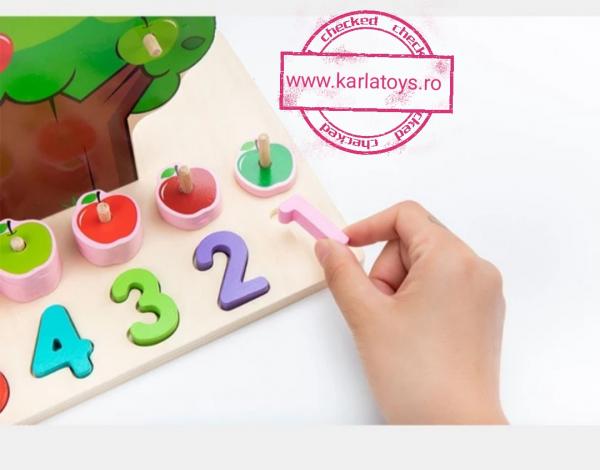 Joc din Lemn Pomul Multifunctional, Pista, Cifre si Fructe 9