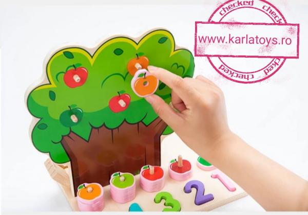 Joc din Lemn Pomul Multifunctional, Pista, Cifre si Fructe 3