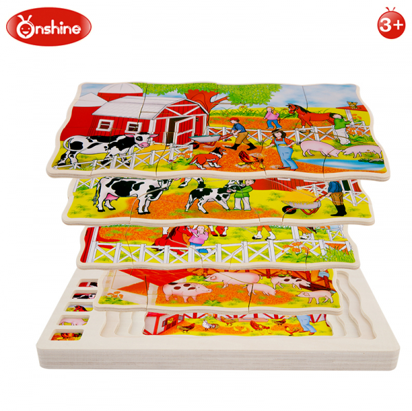 Joc din lemn Puzzle in straturi Onshine Animale 8
