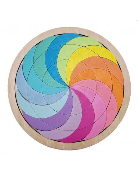 Joc din Lemn Tangram Cerc Curcubeu 0