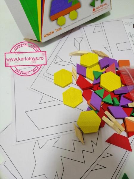 Joc din lemn Tangram Puzzle Blocks 125 piese 9