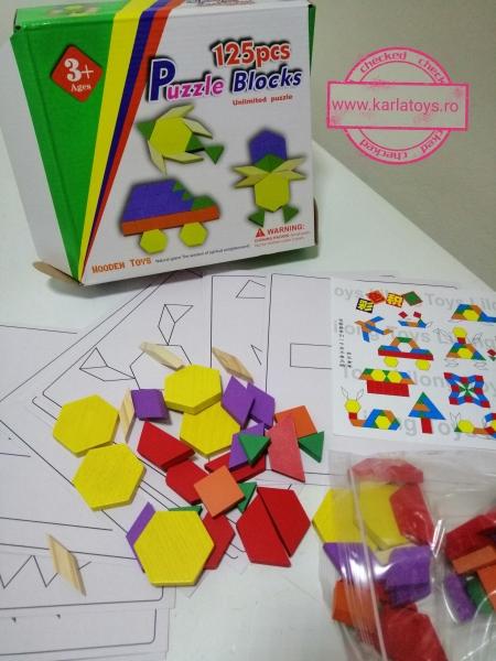 Joc din lemn Tangram Puzzle Blocks 125 piese 11