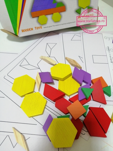 Joc din lemn Tangram Puzzle Blocks 125 piese 10