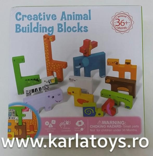 Joc din lemn tetris cu animale 3D 6