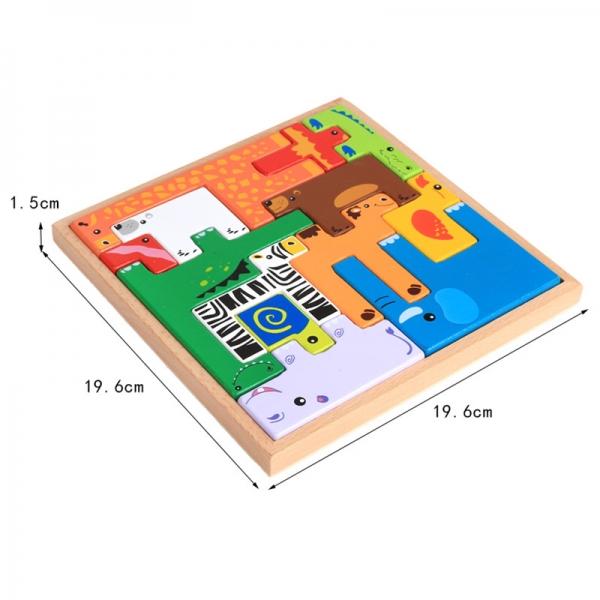 Joc din lemn tetris cu animale 3D 3