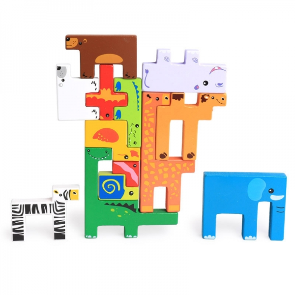 Joc din lemn tetris cu animale 3D 2