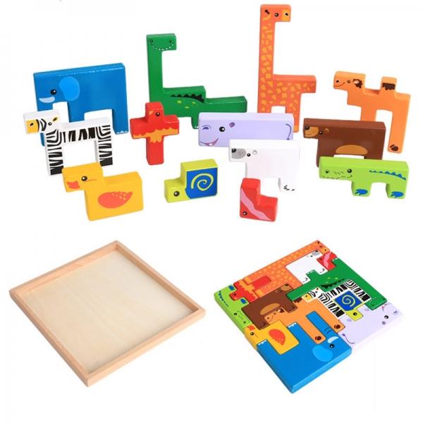 Joc din lemn tetris cu animale 3D 0