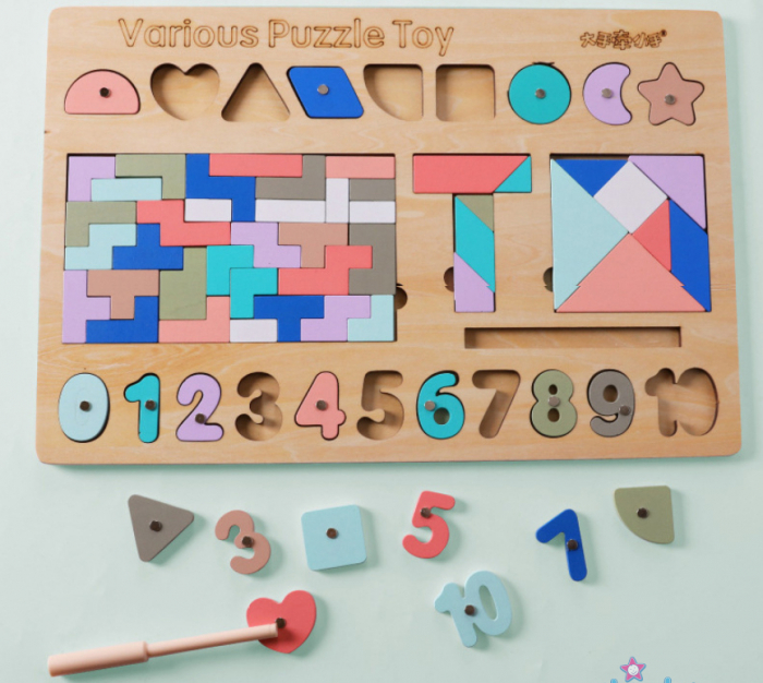 Joc din lemn Tetris si Tangram 5 in 1 0