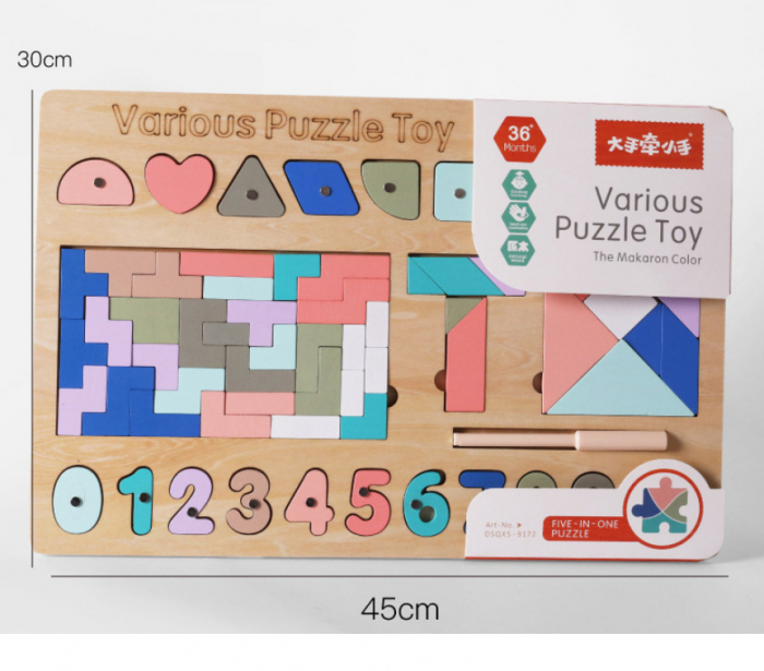 Joc din lemn Tetris si Tangram 5 in 1 1