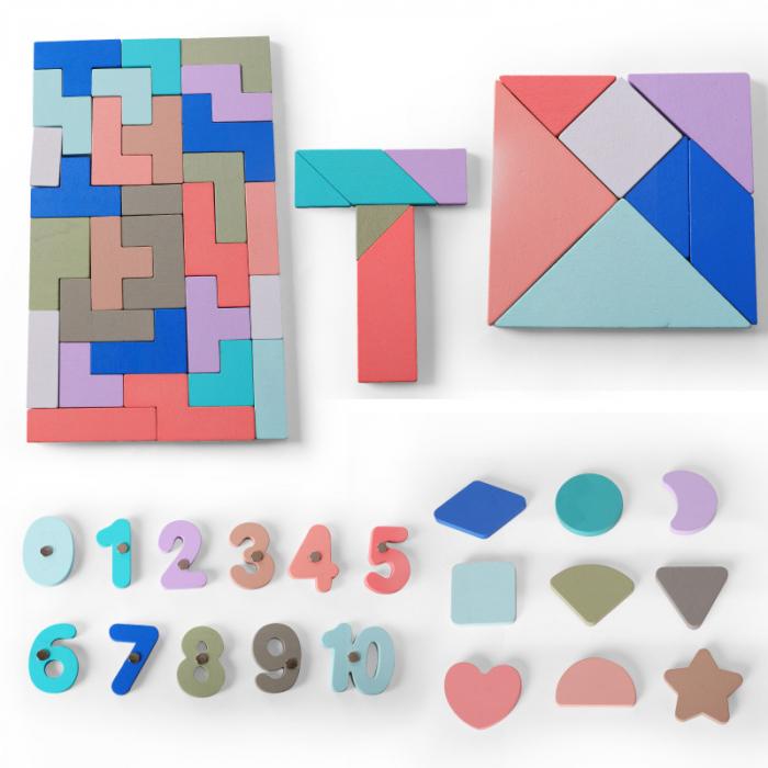 Joc din lemn Tetris si Tangram 5 in 1 3