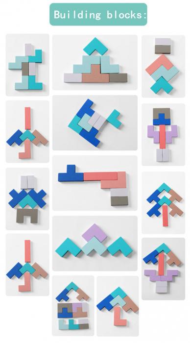 Joc din lemn Tetris si Tangram 5 in 1 7