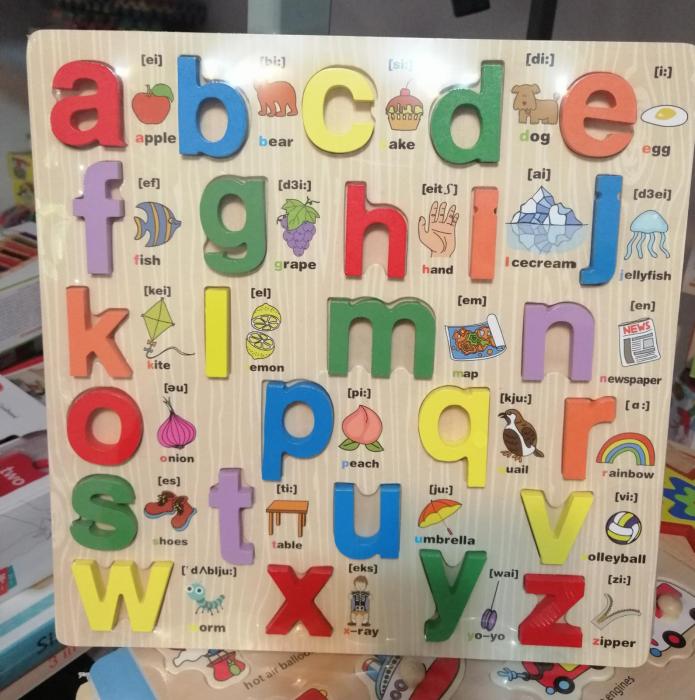 Joc educativ din Lemn Alfabetul cu imagini 3d [0]