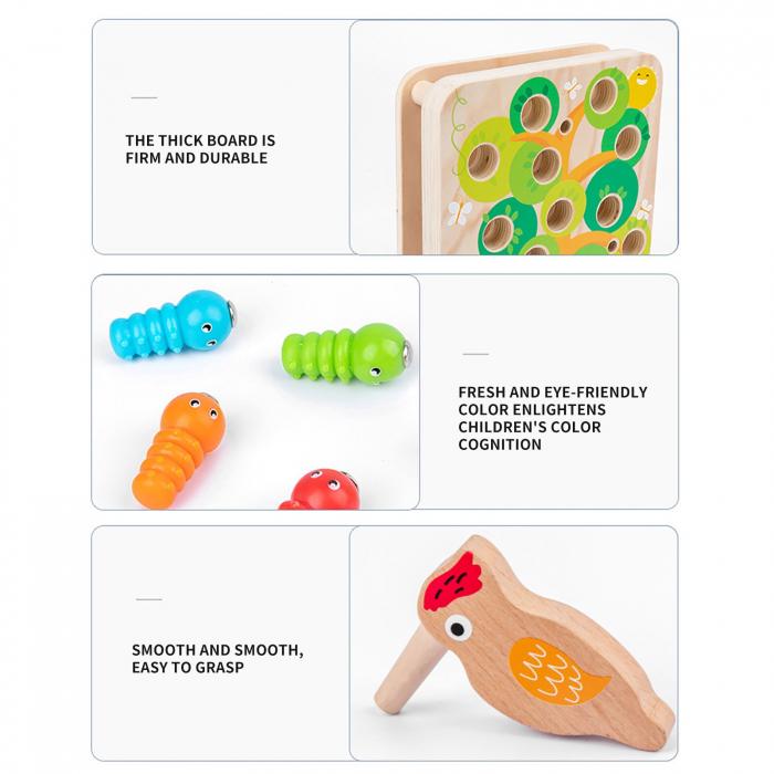 Joc Educativ Montessori Ciocanitoare Joc magnetic dexteritate din lemn Joc Educativ Montessori Ciocanitoare Joc magnetic dexteritate din lemn [5]