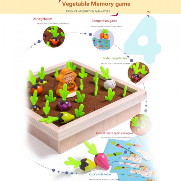 Joc lemn Memorie Gradina cu Legume - Joc Montessori din Lemn Gradina cu Legume 7