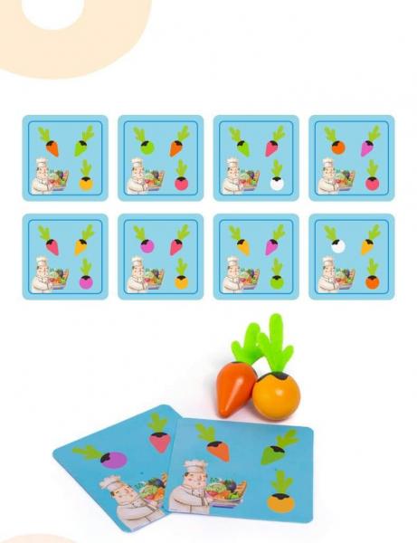 Joc lemn Memorie Gradina cu Legume - Joc Montessori din Lemn Gradina cu Legume 1