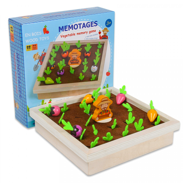 Joc lemn Memorie Gradina cu Legume - Joc Montessori din Lemn Gradina cu Legume 0