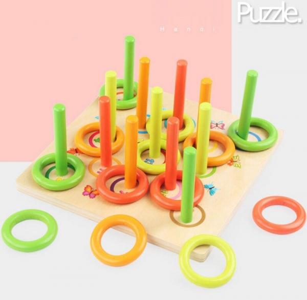 Joc din lemn interactiv de aruncat la tinta Aruncarea inelului 0