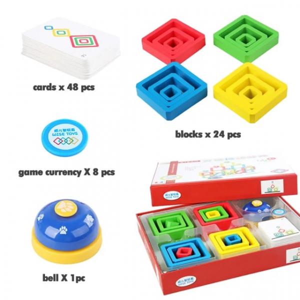 Joc Lemn de Societate Stivuire Stacking Game - Joc din Lemn Senzorial Forme Geometrice 7