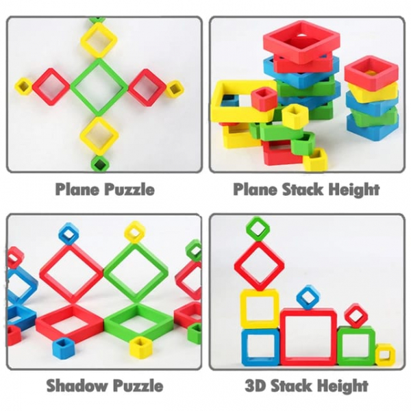 Joc Lemn de Societate Stivuire Stacking Game - Joc din Lemn Senzorial Forme Geometrice 3