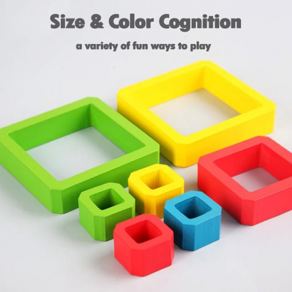 Joc Lemn de Societate Stivuire Stacking Game - Joc din Lemn Senzorial Forme Geometrice 5