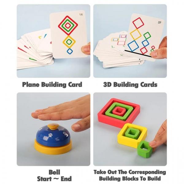 Joc Lemn de Societate Stivuire Stacking Game - Joc din Lemn Senzorial Forme Geometrice 4