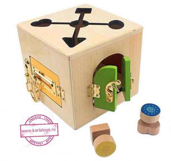 Joc Lemn Incuietori 2 in 1- Joc Cub Inchizatori din lemn cu labirint 3