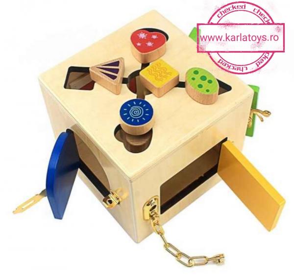 Joc Lemn Incuietori 2 in 1- Joc Cub Inchizatori din lemn cu labirint 1