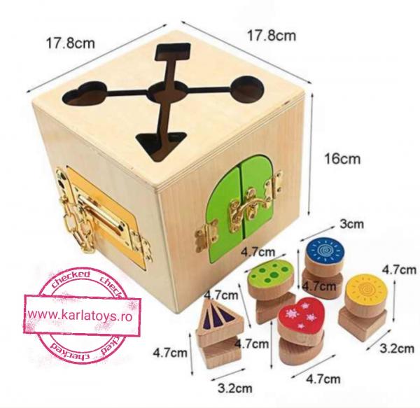 Joc Lemn Incuietori 2 in 1- Joc Cub Inchizatori din lemn cu labirint 4